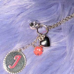 "Justice Letter ""J"" Pink Charm Necklace"